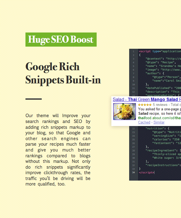 recipes wordpress theme with google rich snippet support