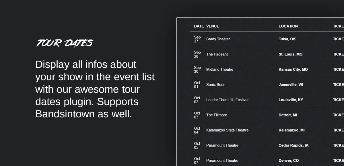 tour dates events list