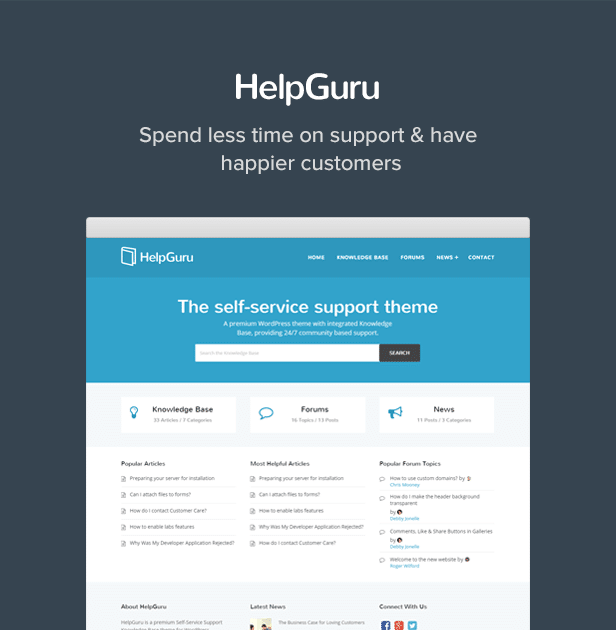 HelpGuru - A Self-Service Knowledge Base WordPress Theme - 1