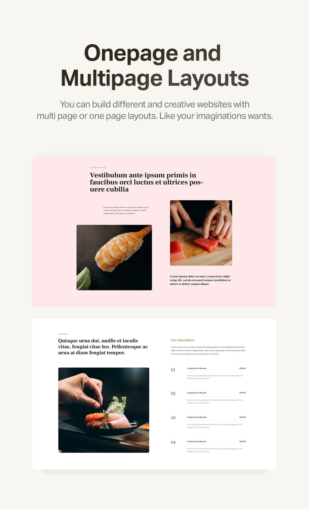 Onepage and multipage