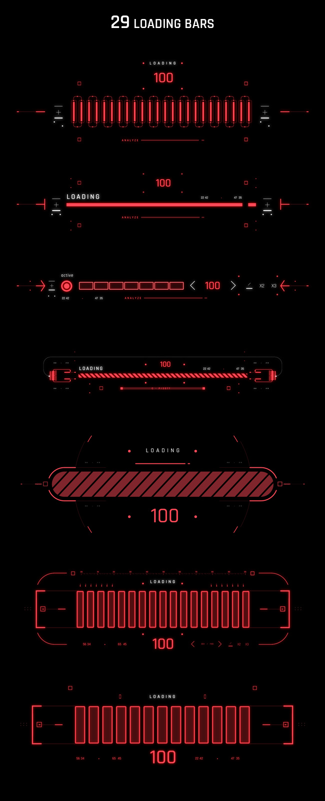 AE脚本-500个HUD高科技赛博朋克UI科幻界面元素动画预设包 Cyberpunk HUD UI 500+ 已修复中文版AE表达式报错插图21