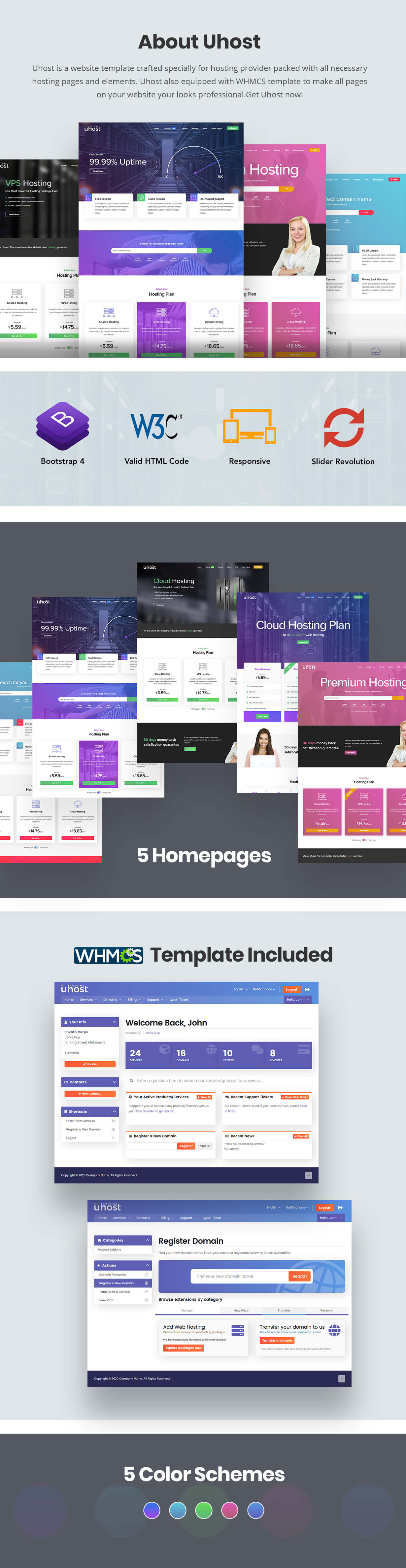 web hosting with whmcs template