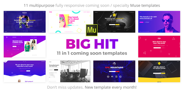 BigHit - 10 in 1 Coming Soon Responsive Muse Templates