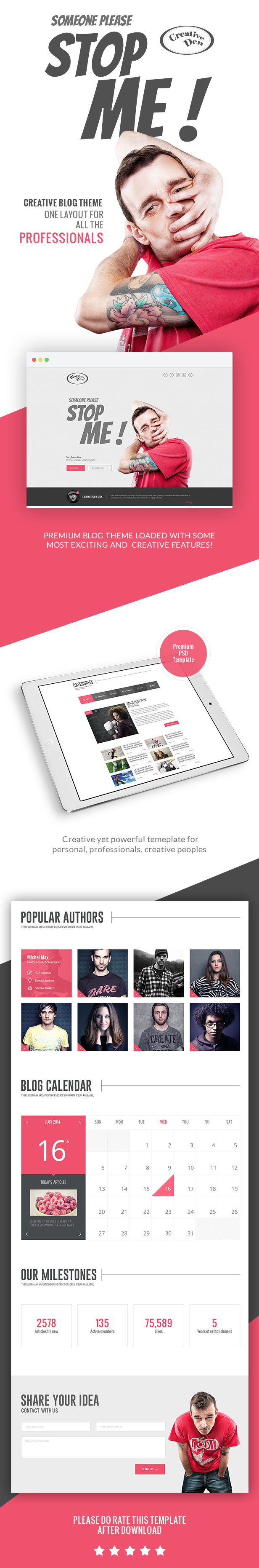 Bloggers Den - One Page Personal Blog Template - 1