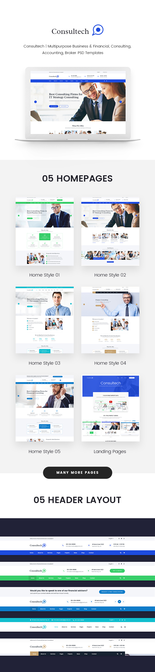 Consultech | Multipurpose Business & Financial, Consulting, Accounting, Broker Psd Templates - 2