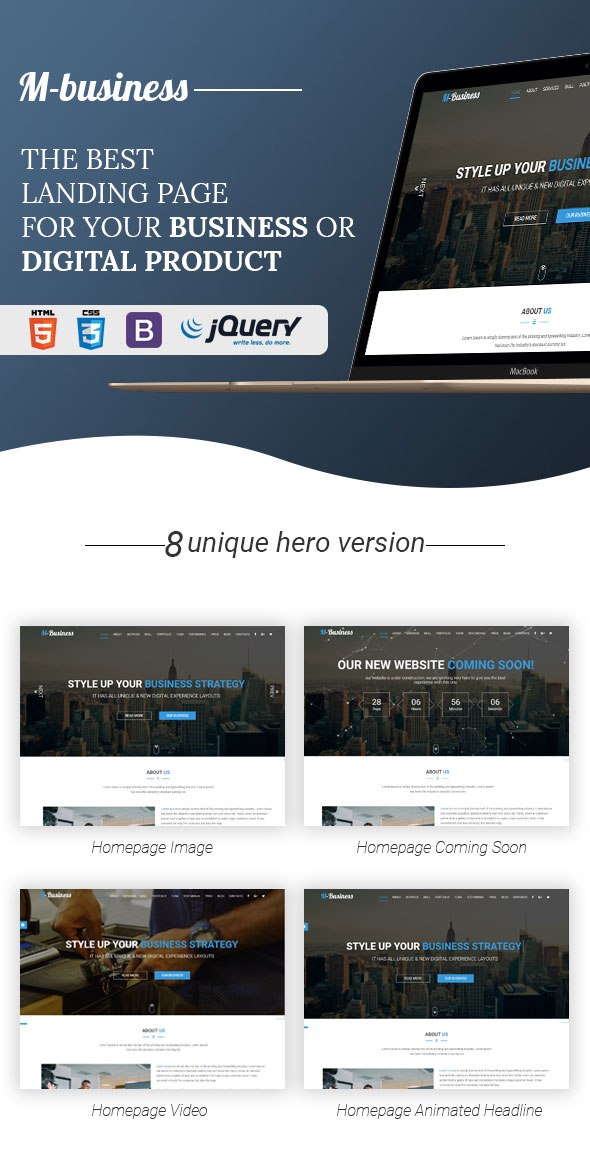 M business one page corporate and business template by themehappy m business one page corporate and business template wajeb Image collections