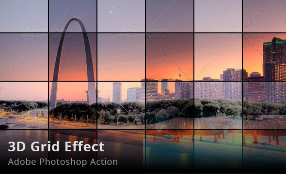 3D Grid Effect Photoshop Action