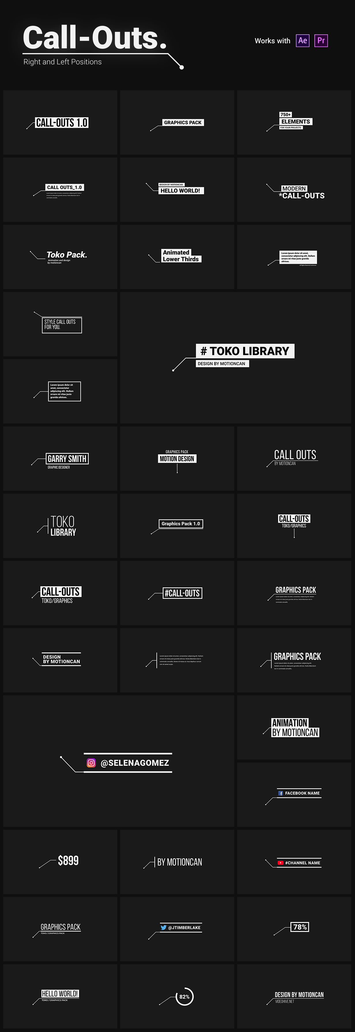 《AE脚本:Toko Graphics 3.0_ 1450+文字标题排版运动图形预设包(Motion Bro)For AE/PR》