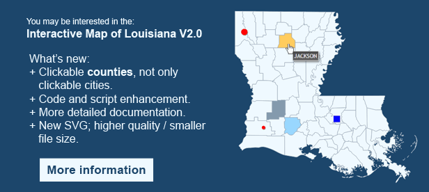Interactive Map of Louisiana - Clickable Counties