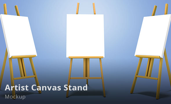 Artist canvas stand easel Mockup
