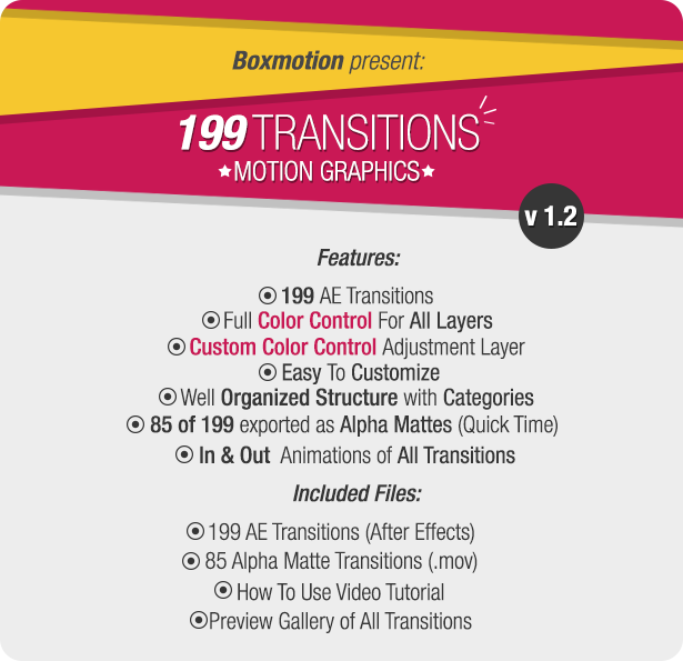 Videohive 199 Transitions Pack v1.2 8934642 - Free After Effects Project Files