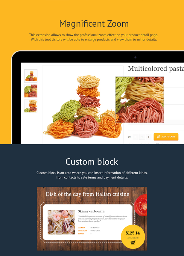 Foodleco italian food opencart theme by zemez themeforest here you can place the products available at the store and some recipes recommendations or reviews from the chefs etc if necessary you can easily adapt forumfinder Choice Image