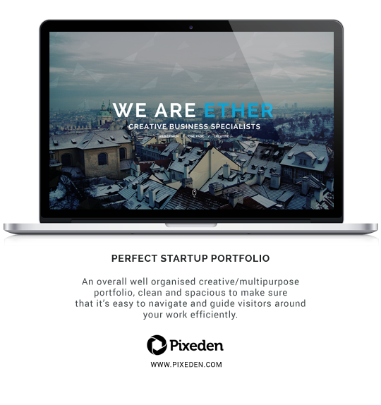 Ether - One Page Creative Portfolio - 1