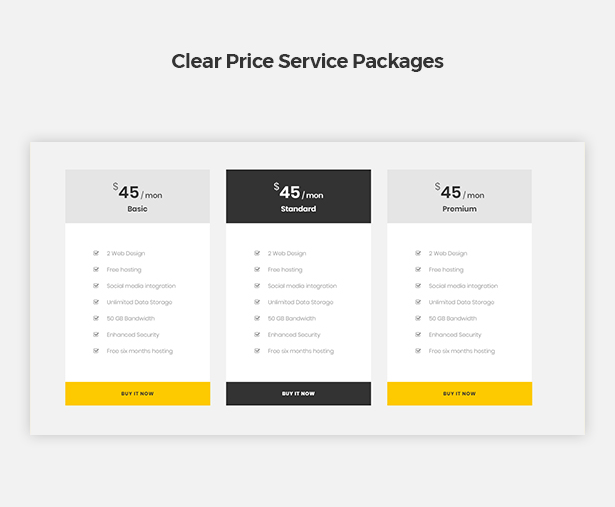 Clear Price Service Packages in Corpec Corporate WordPress Theme