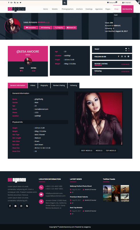 Talent Profile Pages