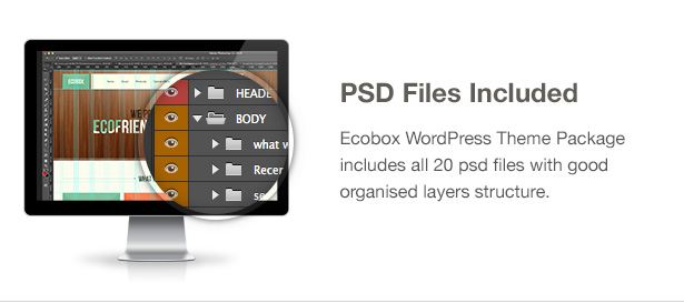 Ecobox WordPress Theme Features: PSD included