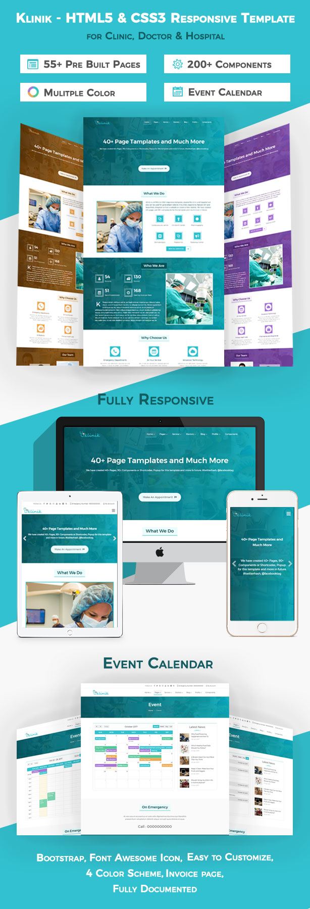 Klinik html5 css3 responsive template for clinic for Hospital menu template