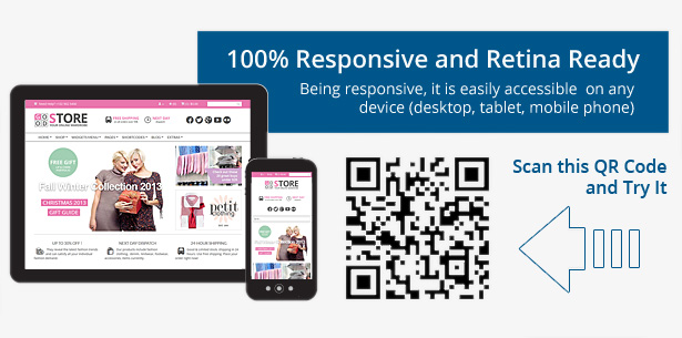 100 % Responsive and Retina Ready - Being responsive, it is easily accessible on any device (desktop, tables, mobile phone). Mobile friendly e-shop template.