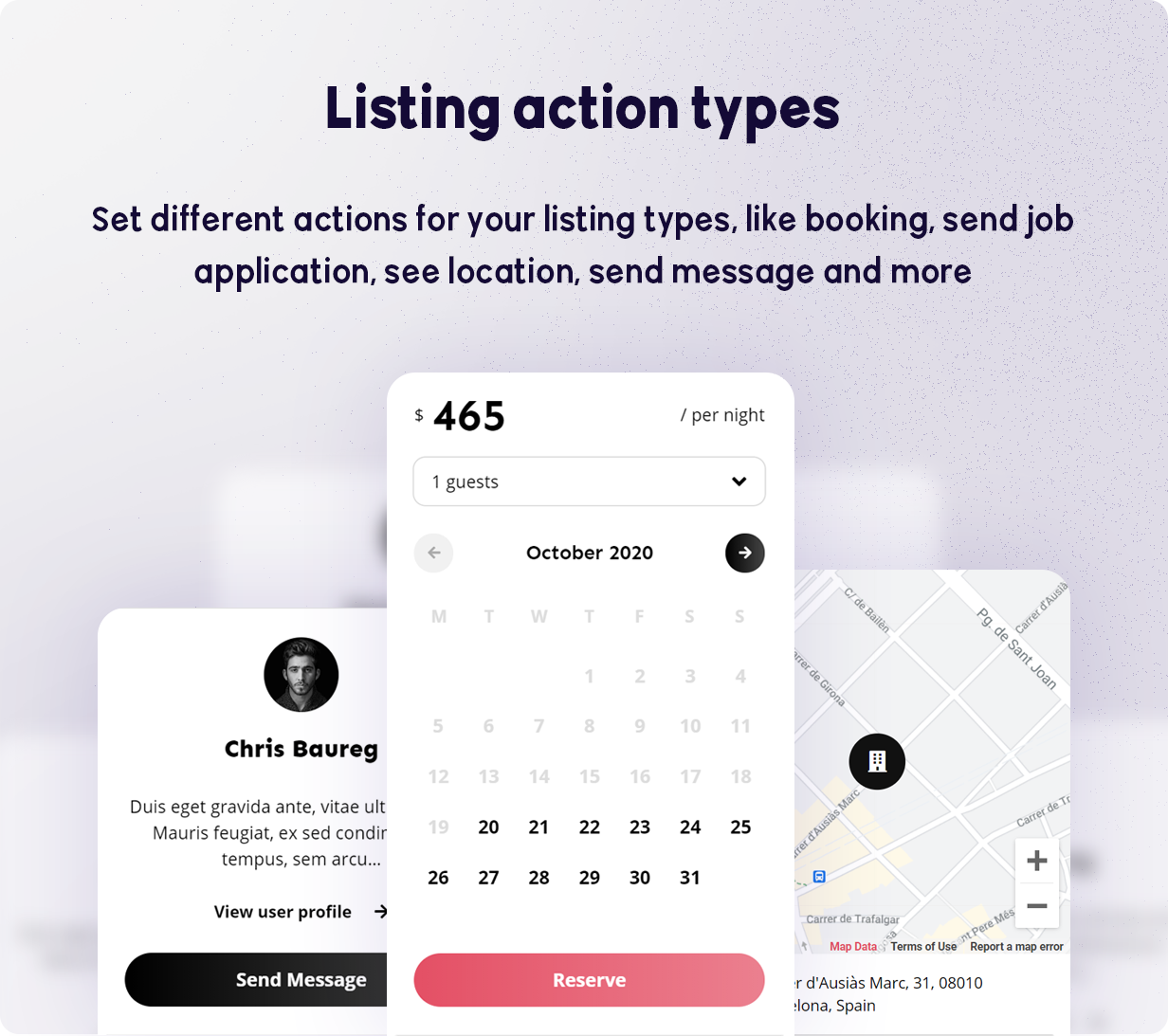 BRIKK- listing and directory WordPress theme - listing action types