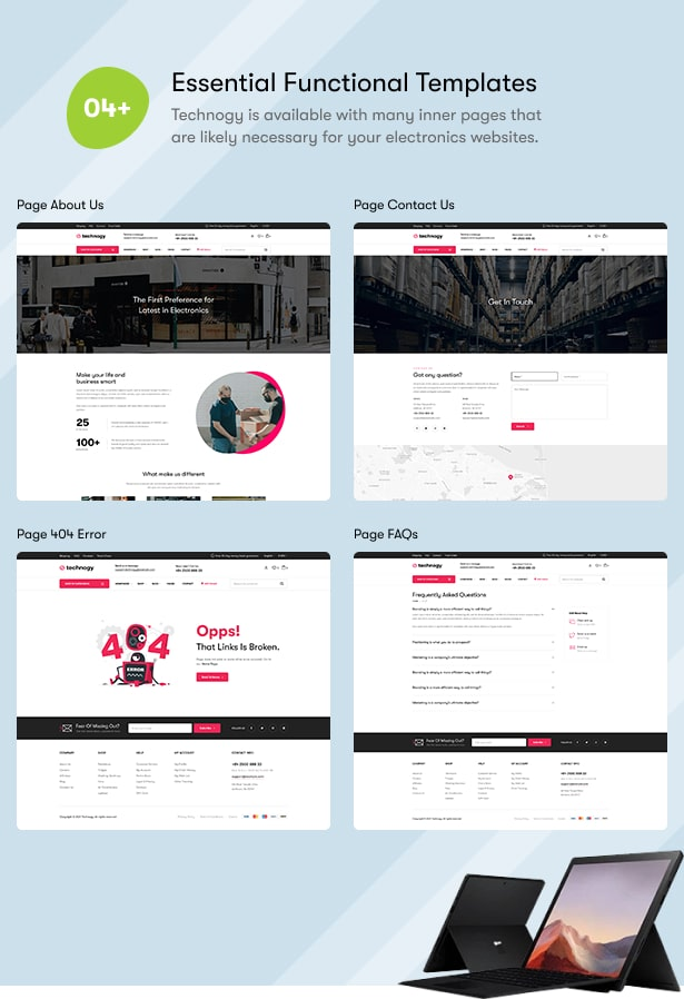 Technocy - Electronics Store WooCommerce Theme - Inner Pages