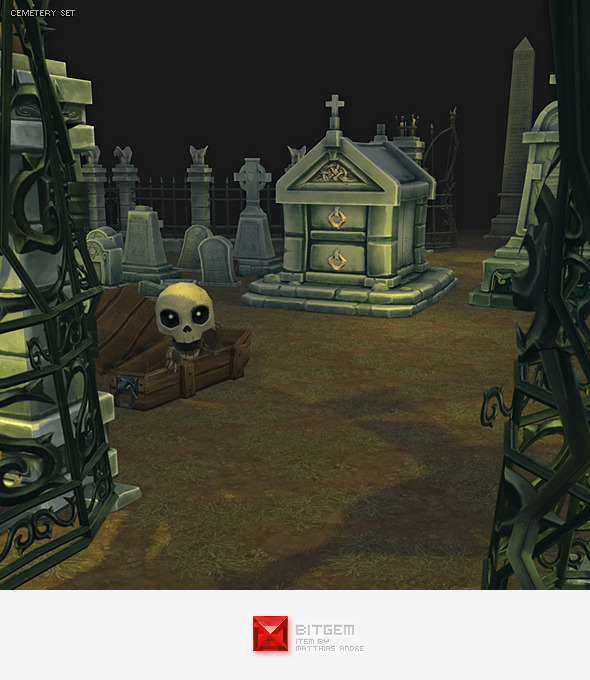 Low Poly Cemetery Starter Set