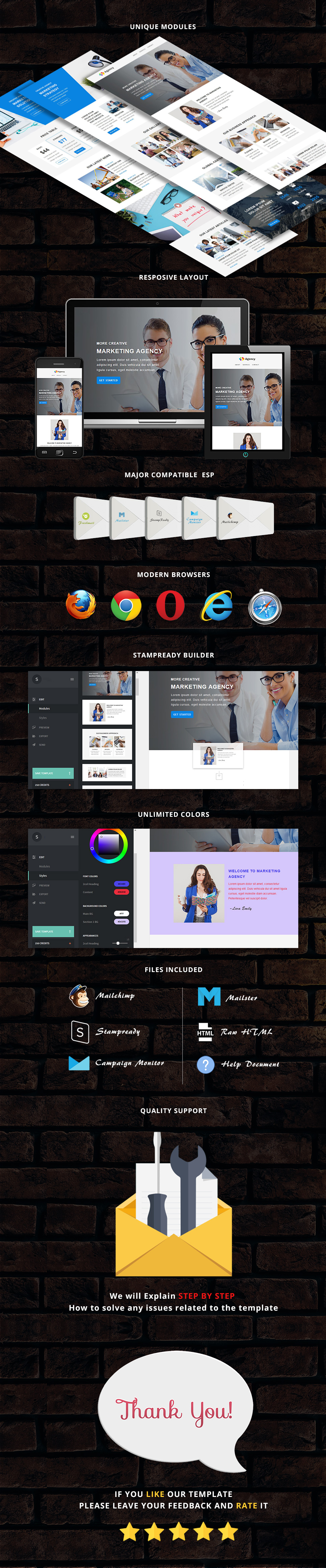 Agency - Responsive Email Template + Stampready Builder Access