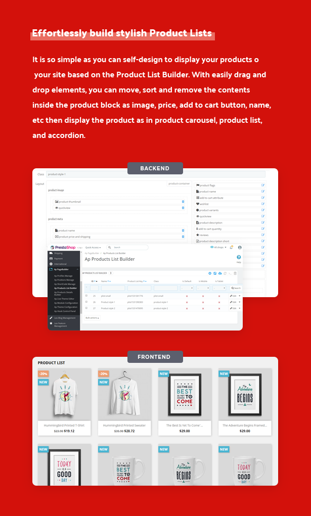 effortlessly build stylish product lists