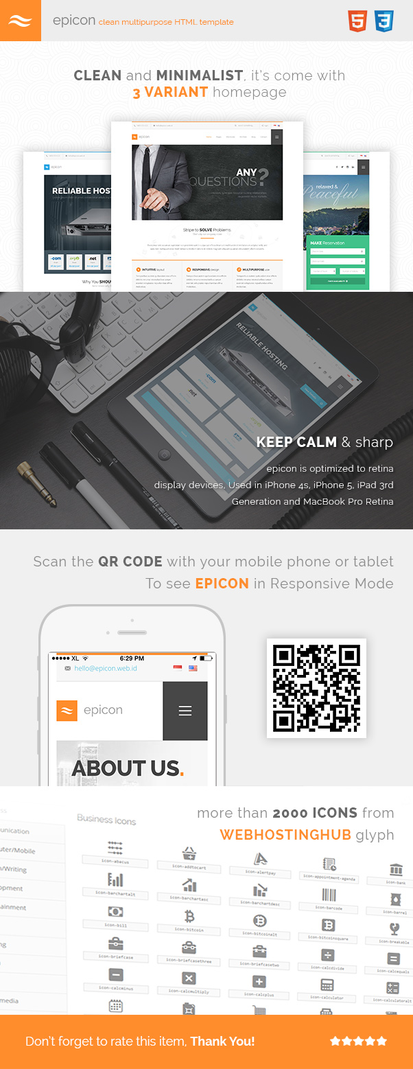 Epicon - Clean Multipurpose HTML Template by Indonez   ThemeForest
