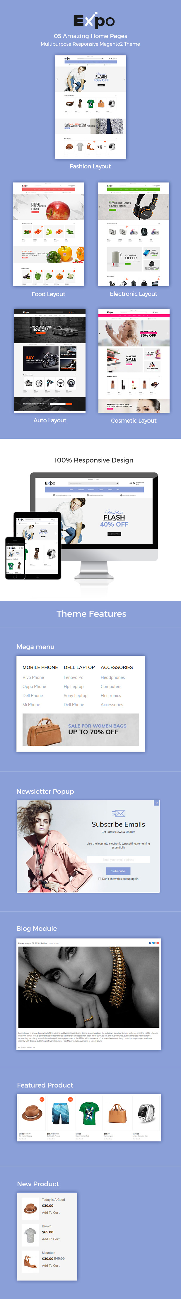 Expo - Multipurpose Responsive Magento2 Theme | Fashion Electronics Auto Cosmetic & Food - 1