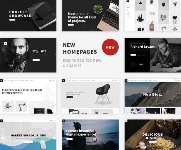 Minimal Creative Black and White WordPress Theme -  New Homepages