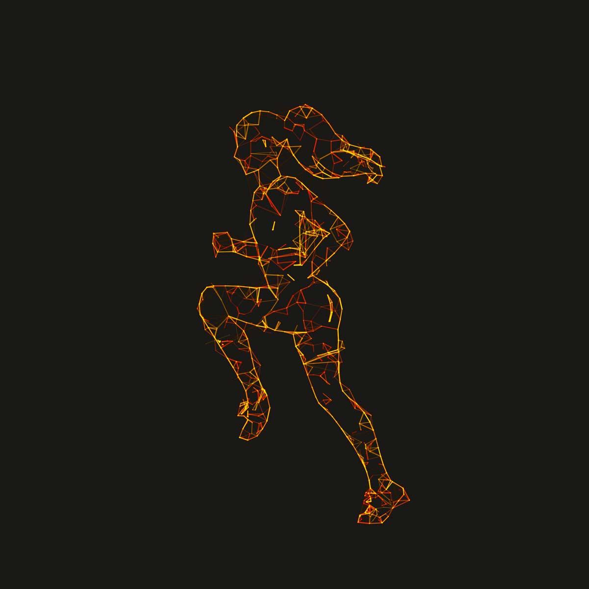 Plexus 3D sport runner rendered with Plexus Maker plugin for Adobe Photoshop