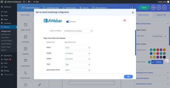 Advanced Aweber integration with ARForms - 3