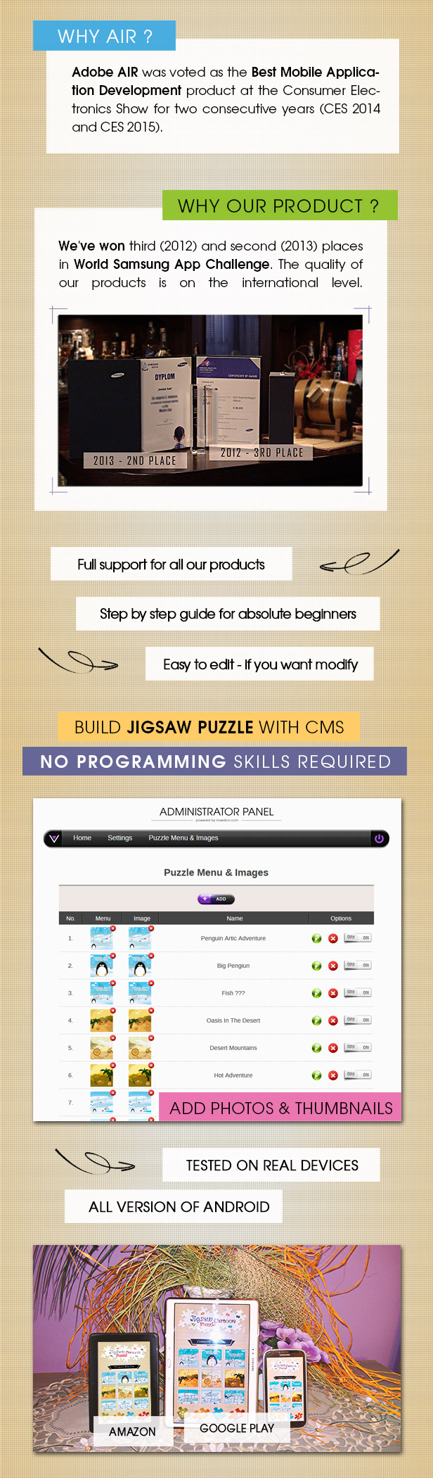 Jigsaw Cartoon Puzzle With CMS & AdMob - Android - 2