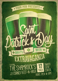 Design Cloud: Retro St. Patricks Day Party Flyer Template