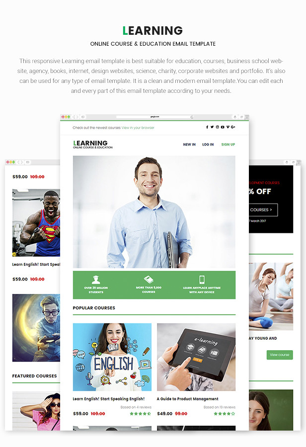 Learning - Responsive Online Course & Education Email Template - 6