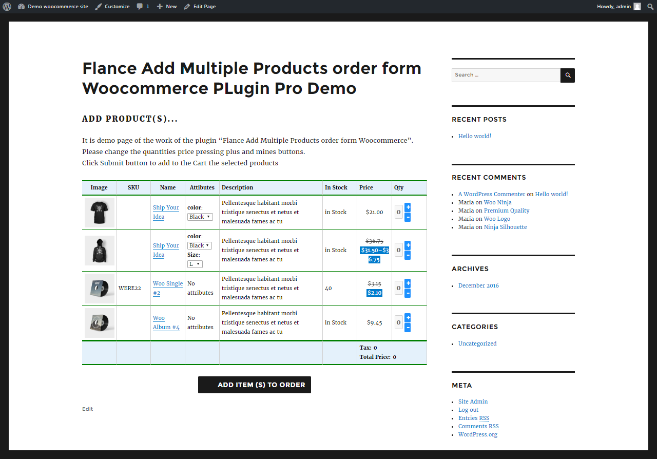 Flance Add Multiple Products order form PRO Woocommerce PLugin - 3