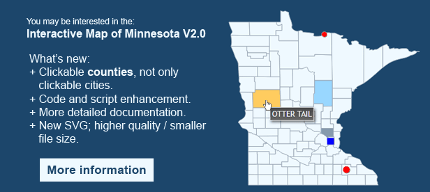 Interactive Map of Minnesota - Clickable Counties