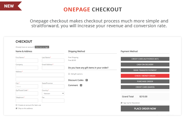 Ballishop - Onepage checkout