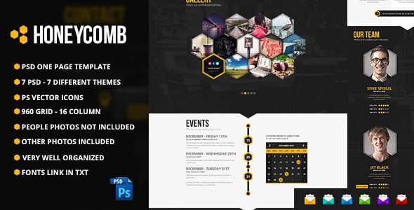 Honeycomb - Responsive One Page HTML5 Template - 25