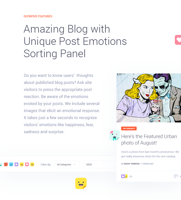 Amazing Blog with Unique Post Emotions Sorting Panel