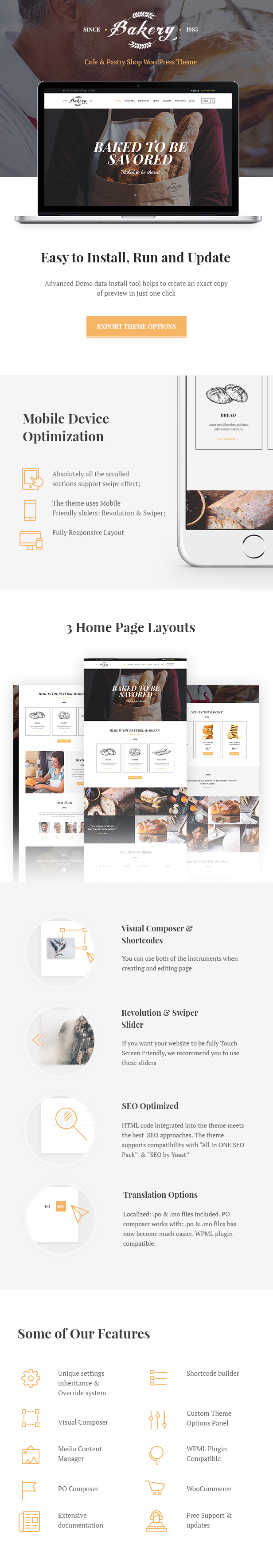 Bakery, Cafe and Pastry Shop WordPress Theme features
