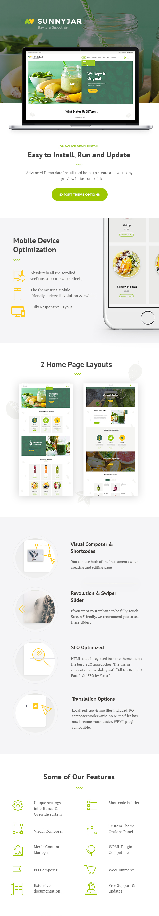 Smoothie Bar & Healthy Drinks Shop WordPress Theme features