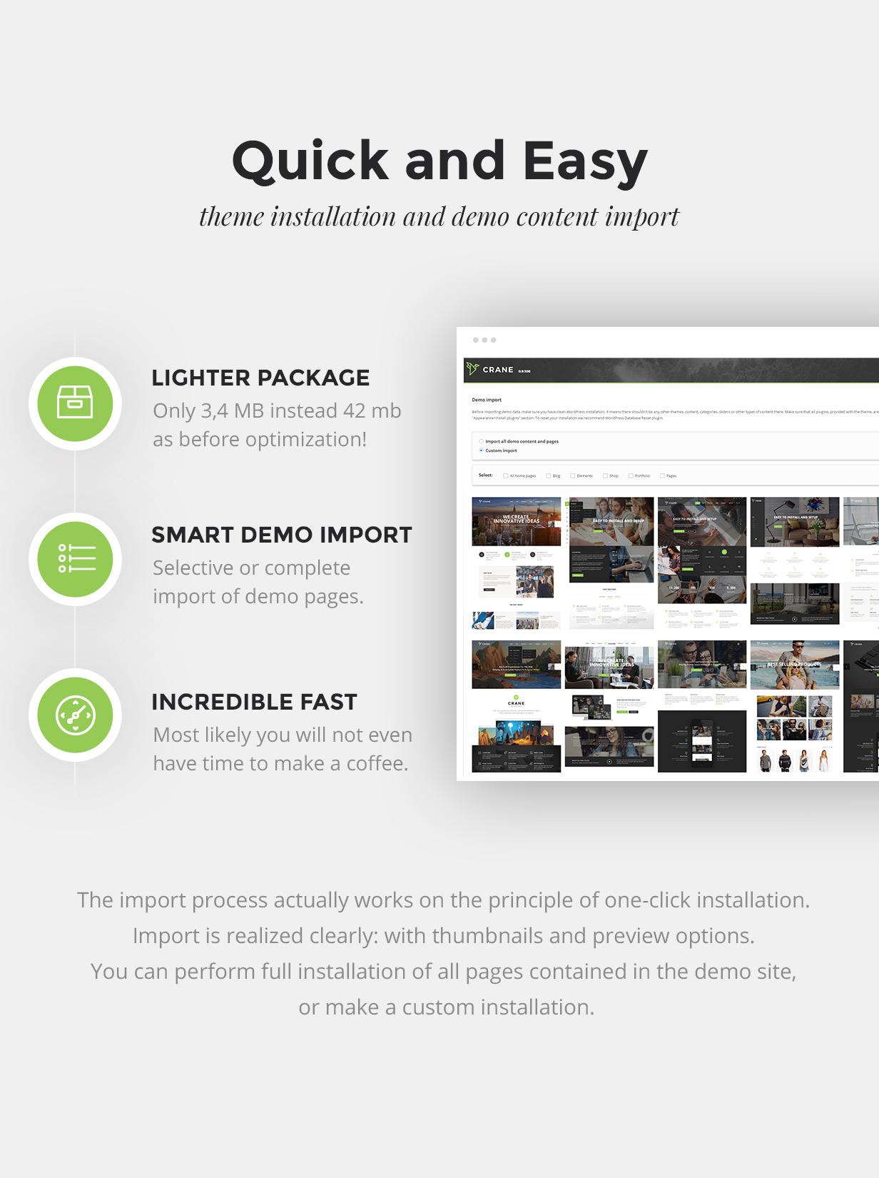 Instalação inteligente e fácil e importação de demonstração com um clique