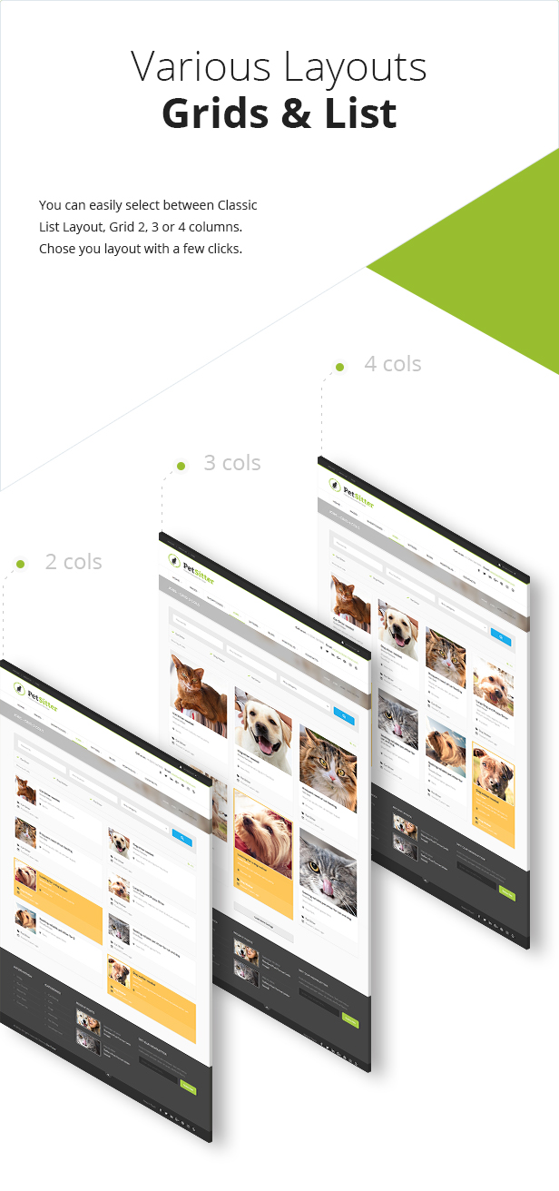 list and grid view pet sitter wordpress theme responsive
