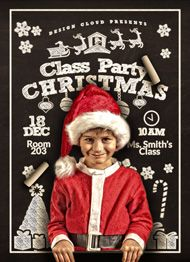 Christmas Class Party Flyer Template by Design Cloud
