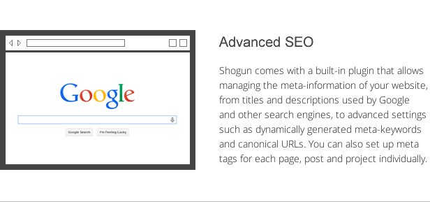 shogun features - advanced seo