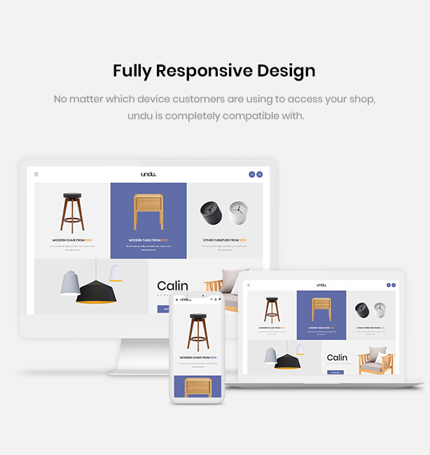 Responsive with any devices Undu - Furniture & Fashion WooCommerce WordPress Theme