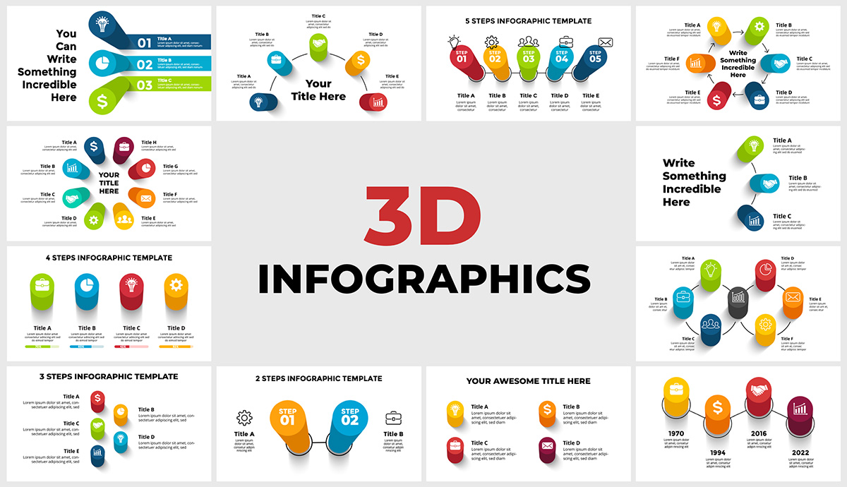 Powerpoint presentation slide templates with 3D perspective infographics. Image includes 12 customizable infographic templates.