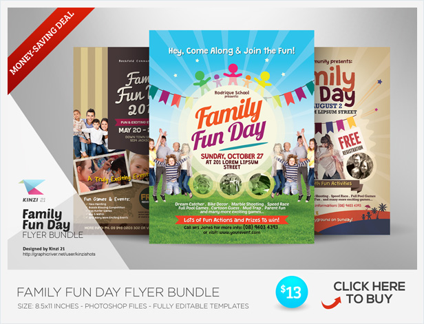 alternative family fun day flyers vol 03 by kinzishots graphicriver