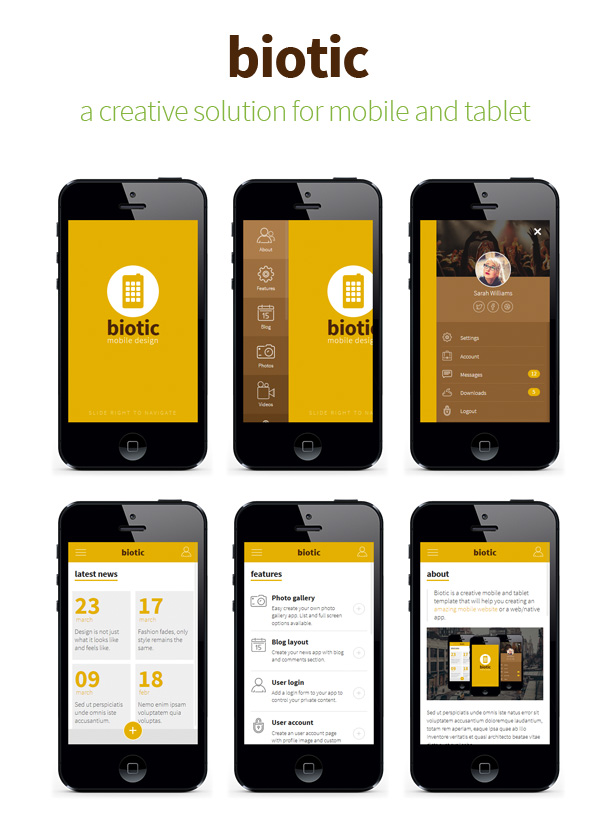 Biotic mobile and tablet creative template by sindevo for Mobile site template free download